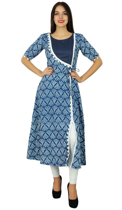 new pattern of kurta bimba designer angrakha style cotton kurta long a line