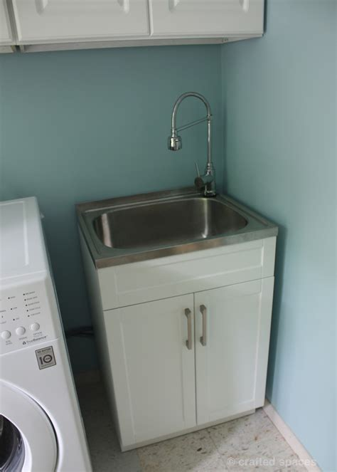 Laundry Room Sink And Cabinet Crafted Spaces At Home Laundry Room Makeover