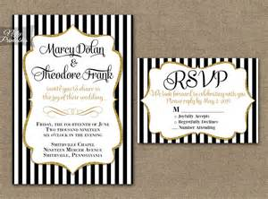 Black And White Invitations Templates by Black White Striped Gold Wedding Invitations Nifty