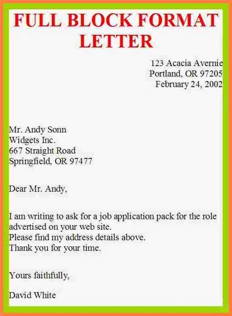application letter block style exle of block style letter letter of recommendation