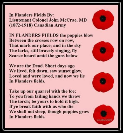printable version of flanders fields i will remember