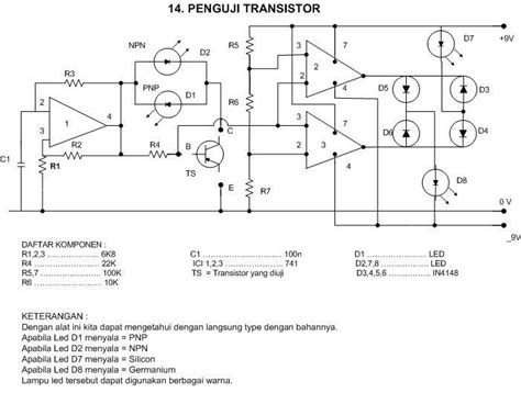 rangkaian transistor and gate kemeroh penguji transistor