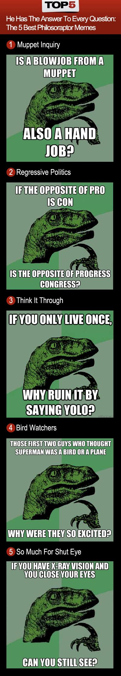 Curious Dinosaur Meme - he has the answer to every question the 5 best