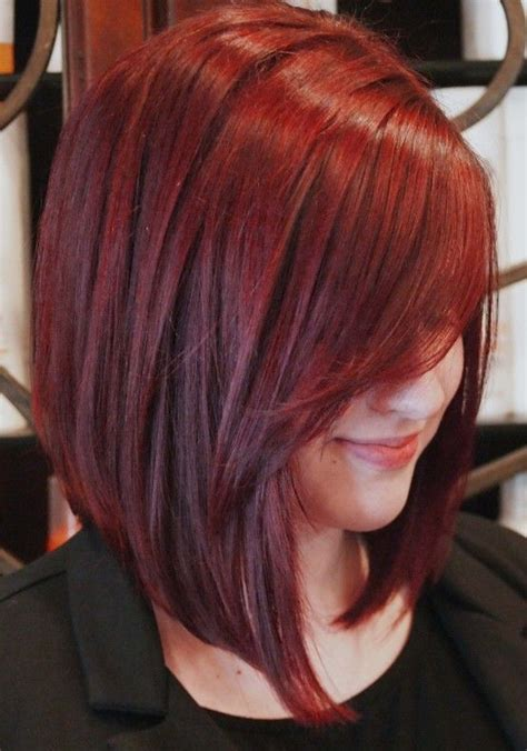 bob hairstyles in red vibrant red inverted bob haircut full dose