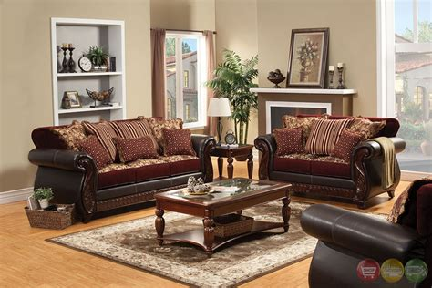 Living Room With Burgundy Sofa by Fidelia Traditional Burgundy Living Room Set With Pillows