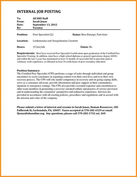Cover Letter Internal Job Posting Template Paulkmaloney Com Posting Email Template