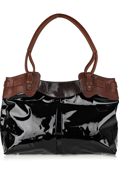 Ada Patent Leather Tote by Pauric Sweeney Large V Patent Leather Tote In Brown Black