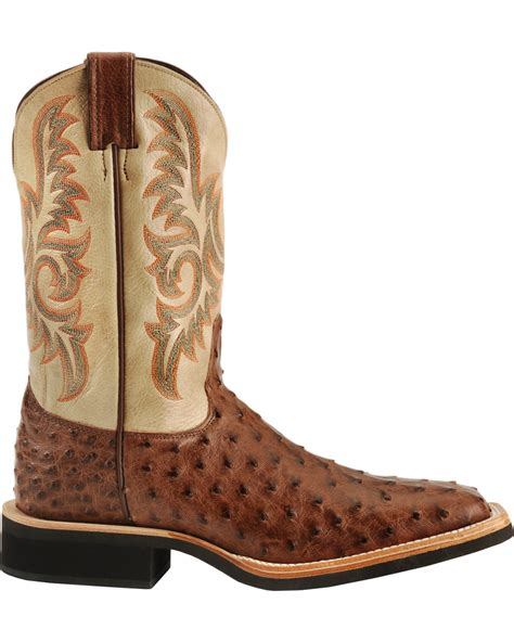ostrich quill mens boots justin aqha quill ostrich cowboy boots square toe
