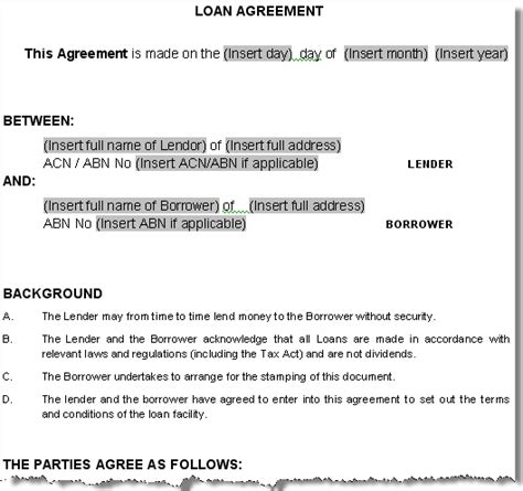 directors loan to company agreement template free printable personal loan agreement form generic