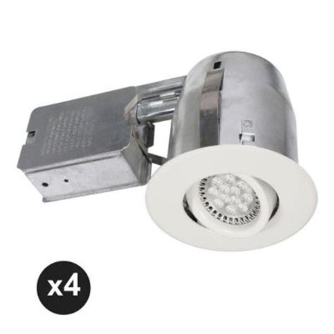 Home Depot Led Recessed Lights by Bazz 300 Series 4 In White Recessed Led Gu10 Light Fixture Kit 4 Pack 300led5w The Home Depot