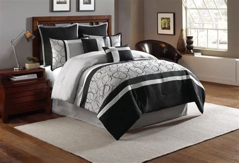 queen comforter set 8 piece blakely black gray comforter set