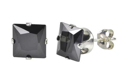 Vier Square Black Set Zirconia Black Square Cubic Zirconia Stud Earrings Cz Prong Set 925