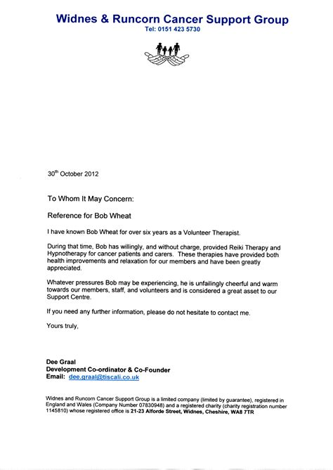 Support Letter Of Recommendation Reference From Cancer Support Centre