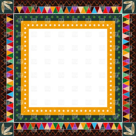 ethnic indian ornamental border patchwork frame 16904