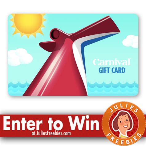 Carnival Cruise Sweepstakes - 16 winners win a carnival cruise gift card julie s freebies