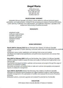 Information Systems Specialist Sle Resume by Professional Software Specialist Resume Templates To Showcase Your Talent Myperfectresume