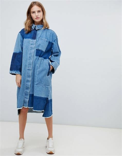 Two Tone Midi Shirtdress by Waven Waven Sigvor Two Tone Denim Midi Shirt Dress