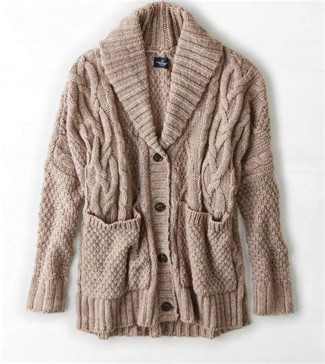 chunky cable knit cardigan sweater aeo chunky cable knit cardigan oatmeal color or