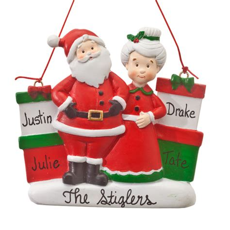 personalized mr and mrs claus with presents ornament