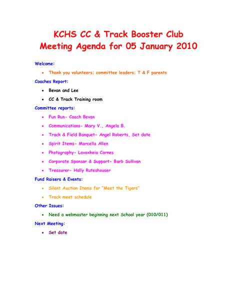 7 Best Images Of Club Meeting Agenda Template Sle Board Meeting Agenda Template Booster Booster Club Minutes Template