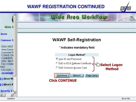 wide area workflow registration ppt wide area workflow inspector and acceptor