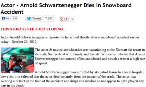 actor arnold schwarzenegger dies in snowboard accident arnold schwarzenegger dies in snowboard accident dead hoax