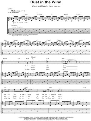 tutorial guitar dust in the wind guitar tab sheet music downloads musicnotes com