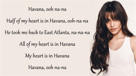 havana lyrics camila cabello havana lyrics ft young thug youtube