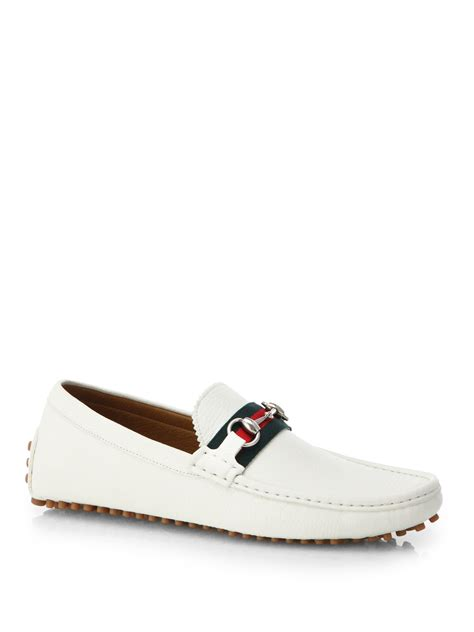 all white gucci loafers gucci leather horsebit drivers in white for lyst
