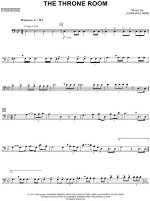 """The Throne Room - Trombone"" from 'Star Wars' Sheet Music"