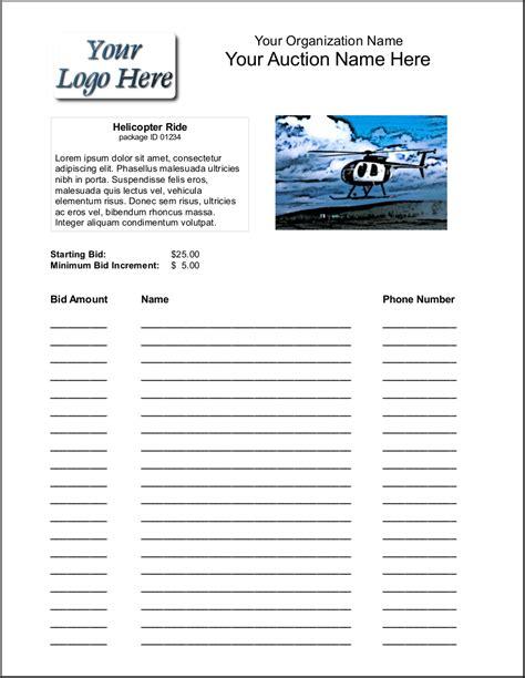 Bid Sheets Bid Package Template