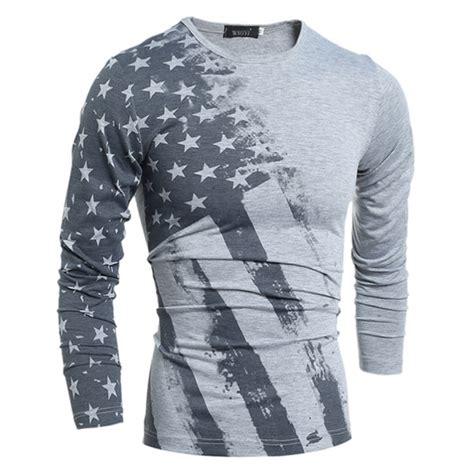 usa flag printed crew neck sleeve s shirt grey
