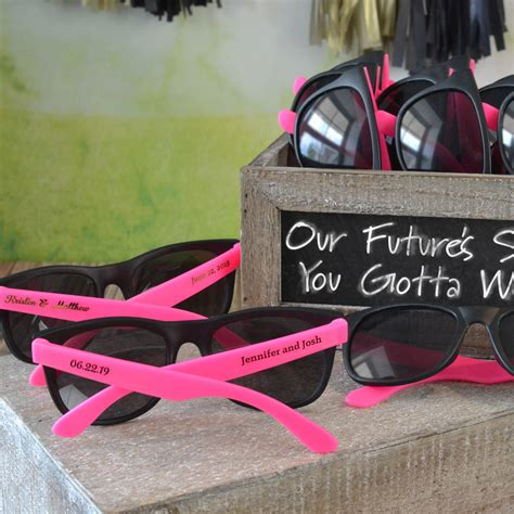 Wedding Favors Sunglasses by Personalized White And Black Frame Wedding Sunglasses Favors