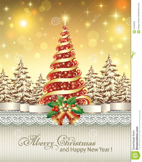 festive poster with a christmas tree stock vector image