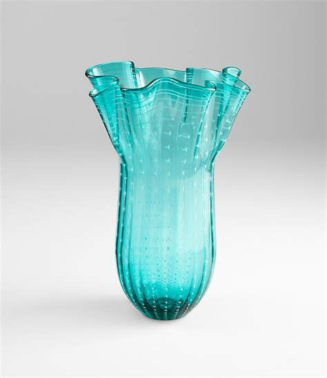 large sea blue glass vase by cyan design