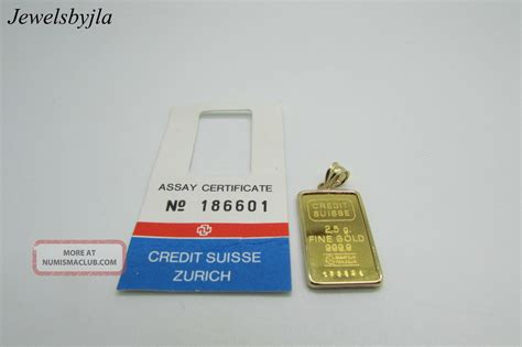 Credit Suisse 2 credit suisse 2 5 grams gold bar 999 9 pendant with