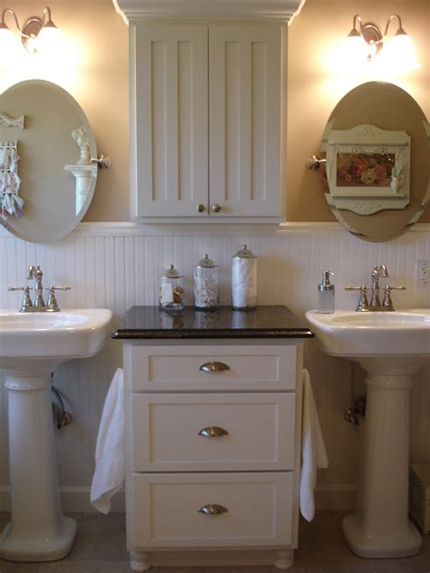 Pedestal Sink Bathroom Ideas by Forever Decorating My Master Bathroom Update