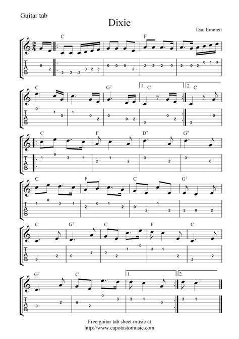 Printable Sheet Music Guitar | free guitar tab sheet music dixie