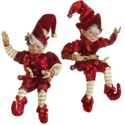 raz 10 quot posable elf ornament set of 2