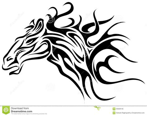 horse tattoo stock vector image 56928135