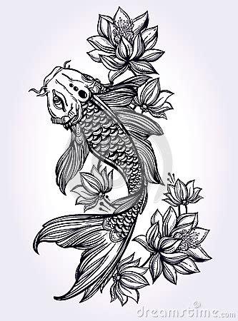 carpa tirada m 227 o de koi dos peixes com flores ilustra 231 227 o