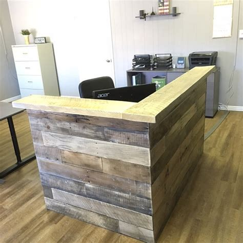 reclaimed wood reception counter reclaimed