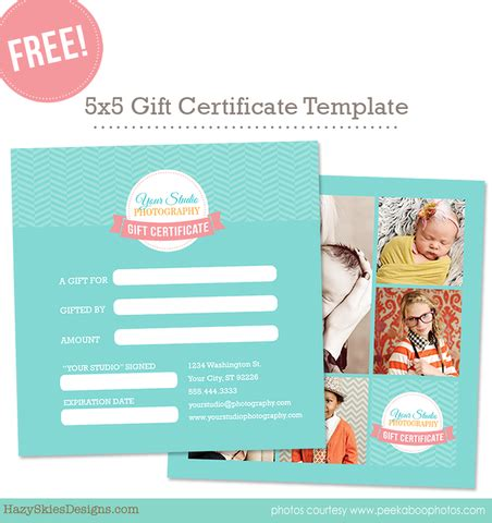 Shopify Gift Card Template by Free Gift Card Template For Photographers
