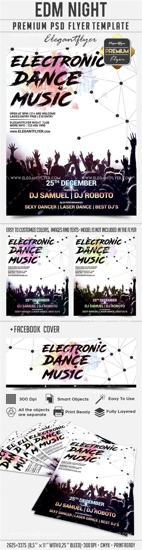 free edm party facebook cover template psd flyer