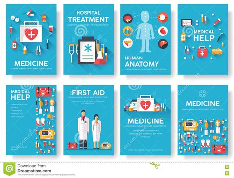 medicine information cards set medical template of flyear