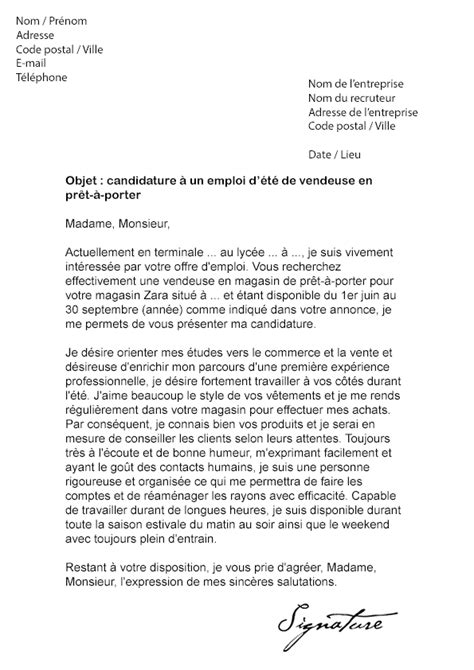 Exemple Lettre De Motivation Vendeuse Etudiante Lettre De Motivation D 233 T 233 Vendeuse Mod 232 Le De Lettre