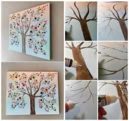 Button tree canvas wall art diy cozy home