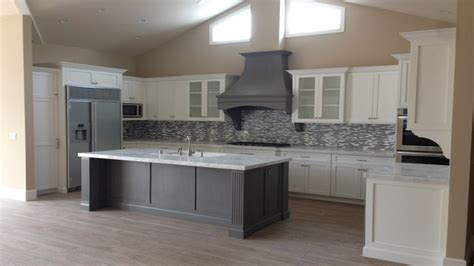 gray kitchen island white shaker kitchen island with grey ideas