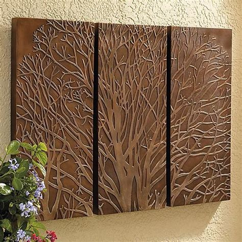 backyard wall art tree triptych outdoor wall art traditional artwork