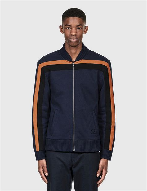 lyst fred perry x raf simons sweat bomber jacket in blue for